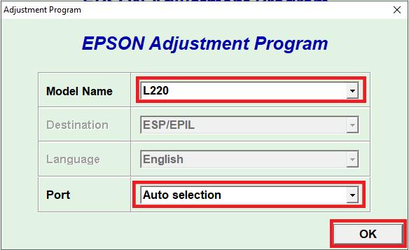 resetter epson L220 select model name - Resetter Epson L220 dan Panduan Lengkap Melakukan Reset