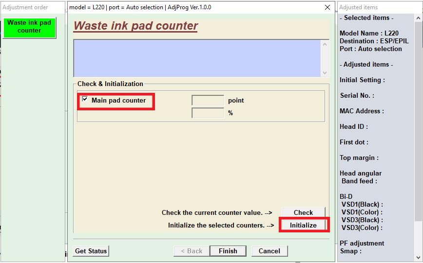 resetter epson L220 waste ink pad counter initialize - Resetter Epson L220 dan Panduan Lengkap Melakukan Reset